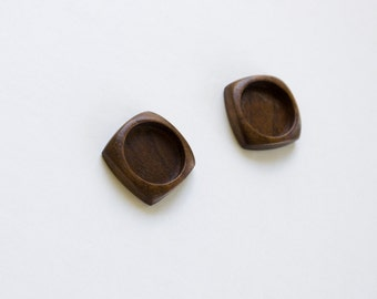 No laser neatly finished hardwood bezel trays - Walnut - 18 mm - Circle - (F01c-W) - Set of 2