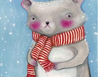 "Christmas Mouse art print, ""Winter Mouse"""