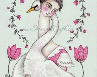 """Swan girl art print, """"Sister Swan"""""""