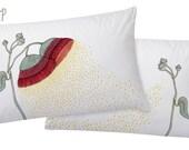 Eucalyptus Blossom Pillowcase Set. Botanical illustration Sham, pillowslip pair, by flossy-p.