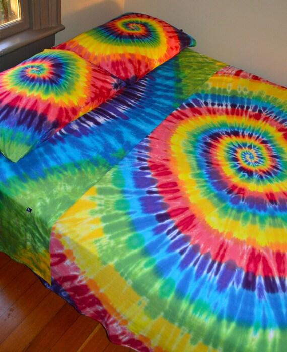 Wanna Sleep In A Rainbow Hand Dyed King Sheet Set In Vibrant