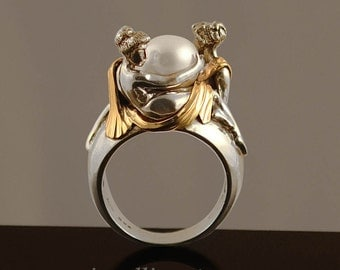 TWO BEAUTIES silver & 14k gold Pearl ring