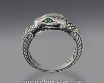 OUROBOROS silver mens unisex Snake ring with Emerald eyes
