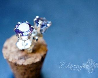 5mm alexandrite earrings. gemstone studs. gold studs. silver studs.