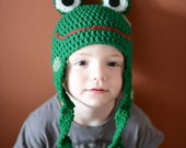 Crochet Hat - Cartoon 3-D Frog Hat in Bright Grass Green with Eyes and Long Legs- Crochet Hat for Baby / Toddler / Boy / Girl / Man / Woman