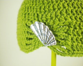 Lemongrass Green Flapper Style Cloche Hat - Design your own hat with colors and brooches - Winter Hats for Women and Baby Girls