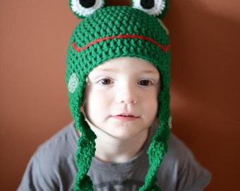 Crochet Frog Hat - cartoon frog hat in grass green with long leg earflaps - animal hats for boys - animal hats for girls