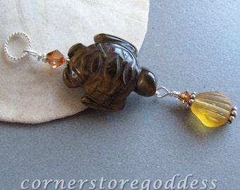 Tiger's Eye Sea Turtle Pendant by Cornerstoregoddess