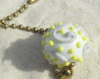 Lampwork Fan Pull  Yellow Grey White with Brass Chain, Artisan Handmade SRA Glassymom