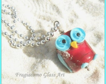 Lampwork Owl Pendant, Sterling Red Turquoise Aqua, Artisan Handmade SRA LETEAM Glassymom