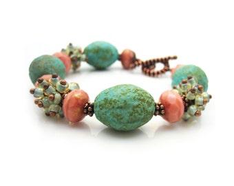 Turquoise Bracelet, Womens Jewelry, Beaded Bracelet,  Bohemian Bracelet, Boho Bracelet, Rustic Bracelet, Coral Bracelet, SEASCAPE