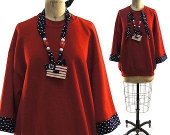 Bizarre 80s Patriotic Sweatshirt / Vintage 1980s Embellished Red Sweatshirt with Blue & White Trim and Painted Beads