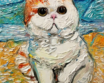Cat art stretched canvas print of original oil painting by Aja 16x20 inches