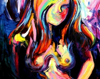 Abstract Nude print colorful art by Aja Reticent - 9x12 and 18x24 inches choose your size