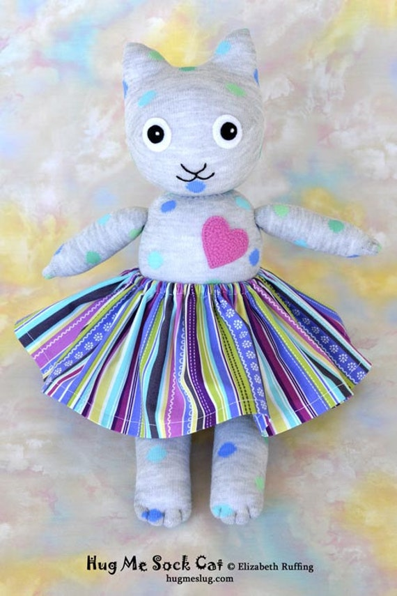 Handmade Sock Cat with Skirt, Stuffed Animal Doll Art Toy, Hug Me Sock Cat, Personalized Tag, Gray, Blue, Polka Dotted, 16 inch, Ready-made