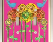 Abstract Blue Bird on HOT Pink Background and Circle Flowers Double Light Switch Plate