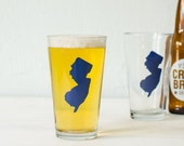 New Jersey navy BLUE silhouette pint glass SCREEN PRINTED beer glasses single