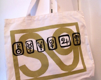 Stellar Symbols jumbo bag screen printed on 100% recycled fabric made in the USA original limited edition astrological virgo september signs