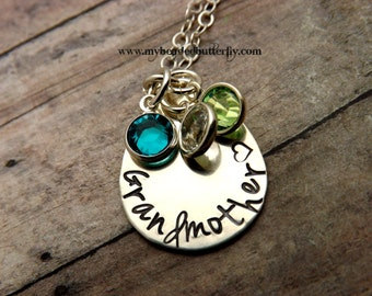 Grandmother necklace-personalized necklace-hand stamped jewelry-sterling silver necklace