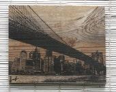"""Brooklyn Bridge Wall Hanging on Reclaimed Barn Wood - 8""""x10"""""""