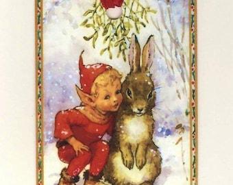 Christmas Gift Tags , Elf and Rabbit , Christmas Tags , Merry Christmas , Vintage Christmas , Rustic