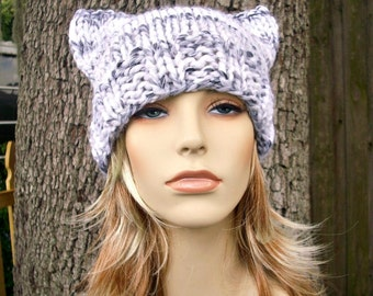 Knit Hat Womens Hat - Cat Beanie Hat in Grey and White Knit Hat - White Hat Grey Hat White Beanie Grey Beanie Womens Accessories Winter Hat