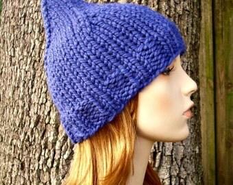 Knit Hat Blue Womens Hat - Blue Gnome Hat Cobalt Blue Knit Hat - Blue Hat Blue Beanie Womens Accessories Winter Hat