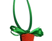 Beaded Carrot Easter ornament