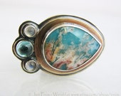 Regency plume agate ring statement ring cocktail ring accented with brass apatite cabochon and two rose cut moonstones size 8