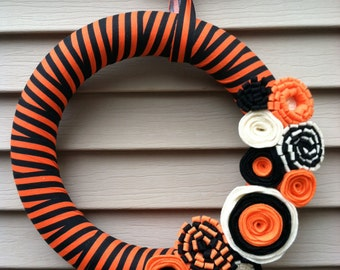 Halloween Wreath - Black and Orange Striped Fabric with Felt Flowers - Halloween Wreath - Fall Wreath - Fabric  Wreath - Felt Flower Wreath