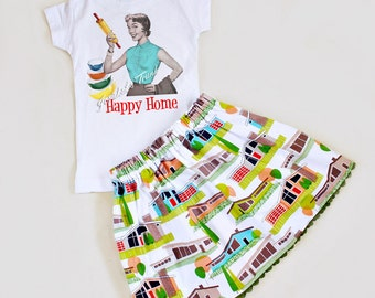 "Girl Skirt Mid Century Modern ""Happy Home"" Outfit Retro Sizes 4 5 6 6X 7 8"