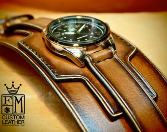 Leather cuff watch Tobacco Brown sunburst wide layered leather watch band Hand made for YOU in NYC by Freddie Matara!