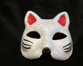 Luck Cat Mask for Cosplay, Halloween, LARP, Steampunk or Masquerade Balls