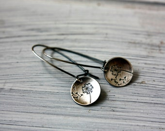 Wishes - Dandelion and Fluff Sterling Silver Hand Stamped Earrings with Handmade Sterling Kidney Earwires