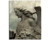 Gothic Stone Angel, Fine Art, Stone Art Photograph, Gothic Decor - Angel Hair