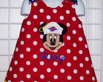 Sailor Cruise Minnie Mouse Applique with Monogram A-line Dress Cruise Vacation