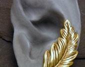 Single Brass Ear Sweep - AUTUMN LEAF SWEEP - One Golden Ear Pin Earring