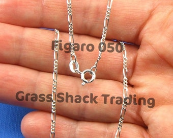 Sterling Silver Figaro 050 Chain Necklace 16, 18, 20, 24 and 30 inches 1.8mm Style no. 170