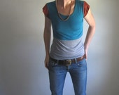 RESERVED for Angela - Bright Teal and Grey Color Block Blouse / Women's Top / Tee Shirt / Custom Made Tshirt