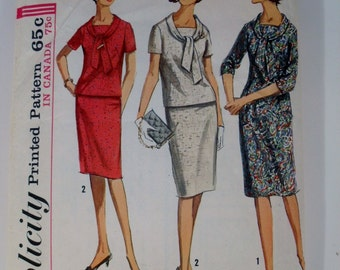 1960's Dress Pattern - Vintage Simplicity 6094 - dress with a tie collar
