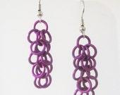 Short Purple Shaggy Loops Chainmaille Earrings Handmade