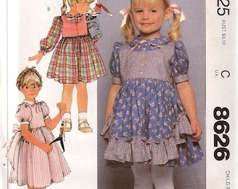 McCall's 8626 Ruffles and Lace Party Dress Girl Size 5 UNCUT