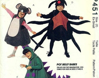 McCall's 451 POT BELLY BABES Costumes - Mouse, Spider, Dragon, Bumblebee, Train Engineer, Lion, Black Cat and Pumpkin