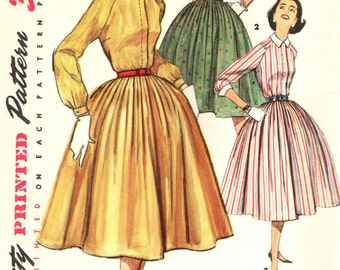 Simplicity 1683 Shirtwaist Pleated Skirt 1950s RAGLAN SLEEVES Size 14 Bust 34 circa 1956