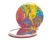 Marbled Pocket Mirror no.11, Bright Crayon Colors, Marbled Paper Mirror, Small Glass Mirror, Party Favors