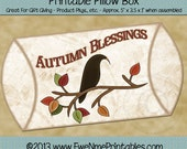 INSTANT DOWNLOAD - Printable Pillow Box - Autumn Blessings Crow - Digital PDF File