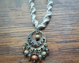 Natural Hemp Necklace with Bronze Wheel Pendant