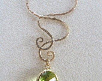 Gold Hammered Scroll Necklace with Faceted Green glass dangle