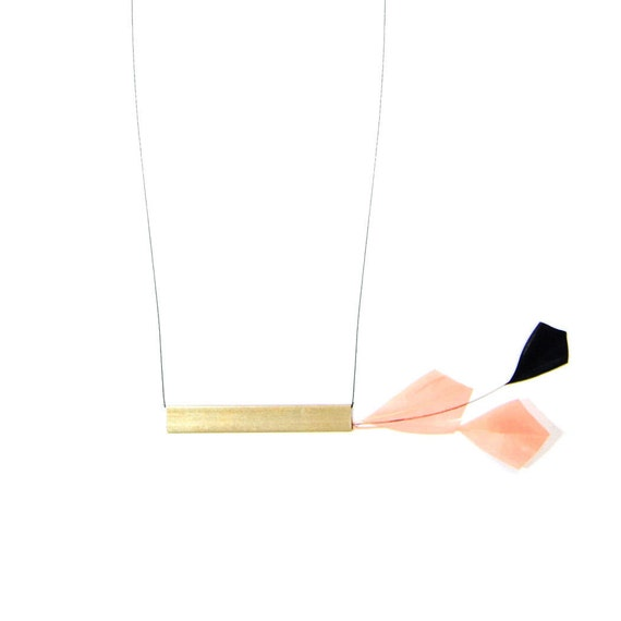 Minimalist Necklace. Brass Modern Jewelry. Arrowhead Feather. Feather Statement Necklace. Bar Necklace. Minimal Feather Necklace