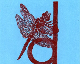 Dragonfly D Monogram Linocut - Alphabet Typographic Lino Block Print - D is for Dragonfly, Damselfly, Insect